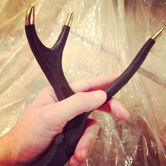 Handmade Ceramic Matte Black Antler with Gold Tipped