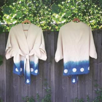 Indigo-dyed cotton robe.